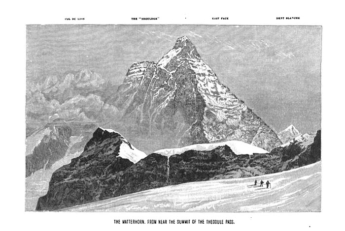 "Edward Whymper's Woodcut of the Matterhorn from his ""Scrambles Amongst the Alps"" (1872)"