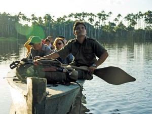 Dugout canoe in the Peru Amazon