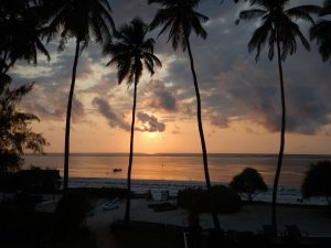 Beautiful sun sets on Zanzibar Island